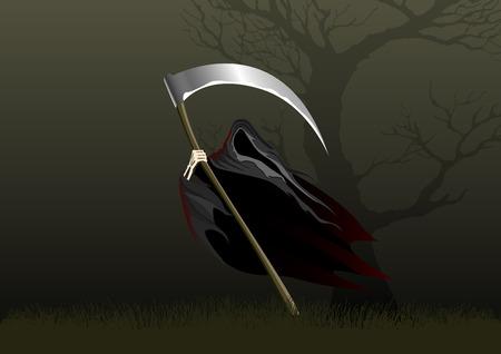 immortal: Illustration of a green reaper in the dark night Illustration