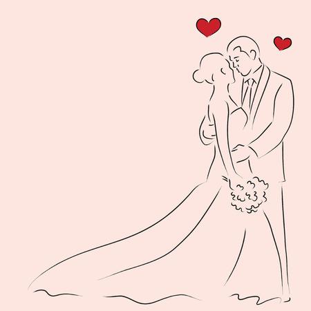 結婚式: 新郎、新婦の簡単なライン アート