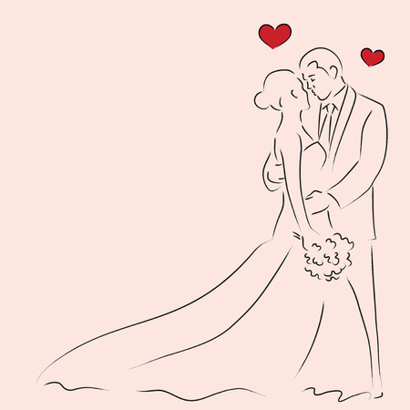 wedding ceremony: Simple line art of a bride and a groom