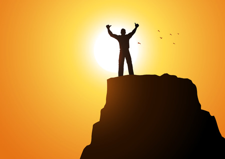 mountain silhouette: Silhouette of a male figure on top of a mountain