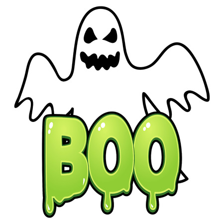 boo: Cartoon illustration of a ghost with boo text Illustration