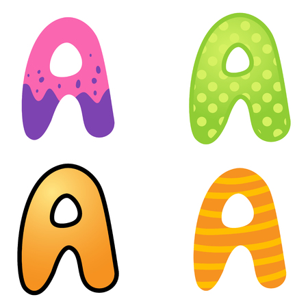 kiddies: Colorful cartoon font type letter A