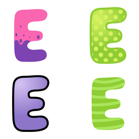 kiddies: Colorful cartoon font type letter E