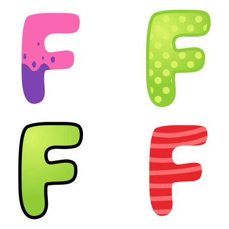 kiddies: Colorful cartoon font type letter F