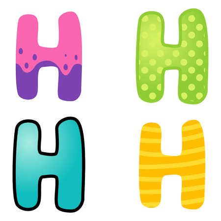 kiddies: Colorful cartoon font type letter H