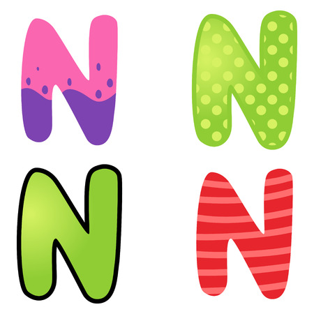 kiddies: Colorful cartoon font type letter N Illustration