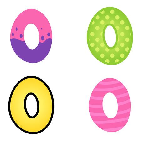 kiddish: Colorful cartoon font type letter O