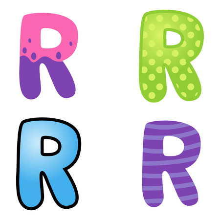kiddies: Colorful cartoon font type letter R