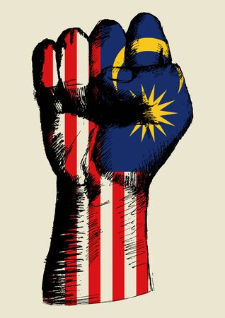 malaysia: Sketch illustration of a fist with Malaysia insignia