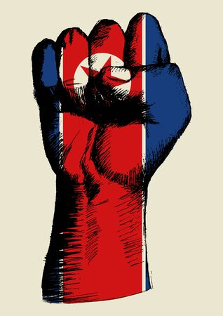 korea: Sketch illustration of a fist with North Korea insignia