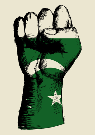 pakistani: Sketch illustration of a fist with Pakistan insignia