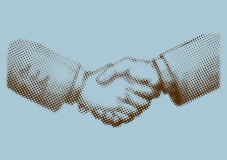 Illustration of shaking hands in halftone effect