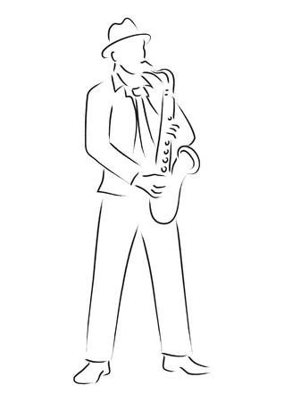 saxophonist: Simple line art of a saxophonist