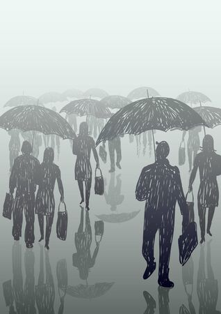 fog: Doodle of people walking in the rain with umbrellas Illustration