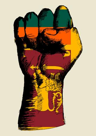 Sketch illustration of a fist with Sri Lanka insignia