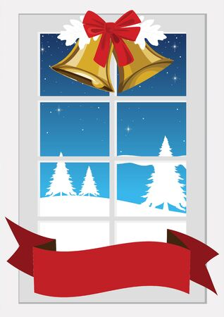 silent: Illustration of a window with Christmas decoration