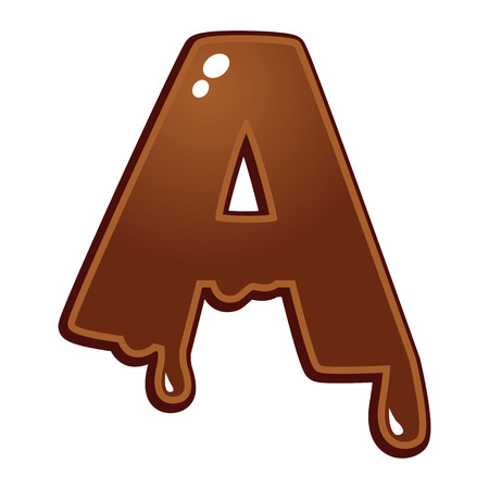 chocolate syrup: Chocolate melt font type letter A Illustration