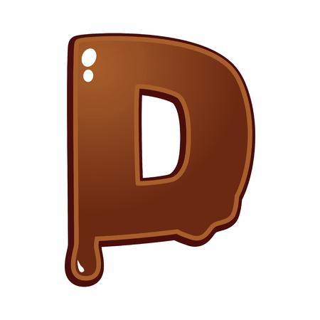 melt: Chocolate melt font type letter D Illustration