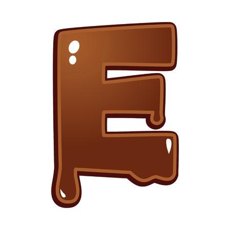 chocolate melt: Chocolate melt font type letter E
