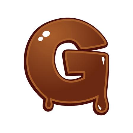 chocolate melt: Chocolate melt font type letter G Vettoriali