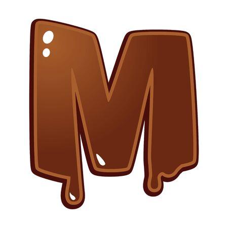 chocolate melt: Cioccolato fuso tipo di font lettera M