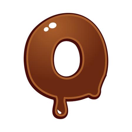chocolate melt: Cioccolato fuso tipo di font lettera O Vettoriali
