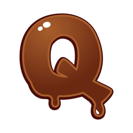 dripping: Chocolate melt font type letter Q Illustration