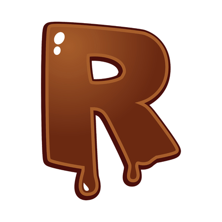 chocolate melt: Chocolate melt font type letter R