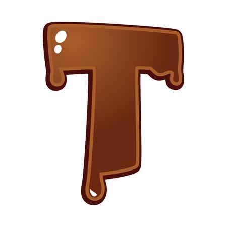 chocolate melt: Cioccolato fuso tipo di font lettera T