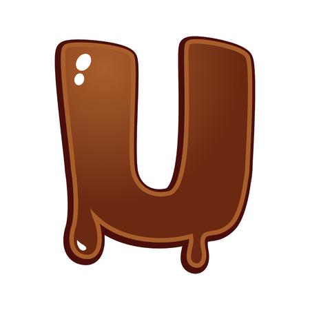 chocolate melt: Cioccolato fuso tipo di font lettera U Vettoriali