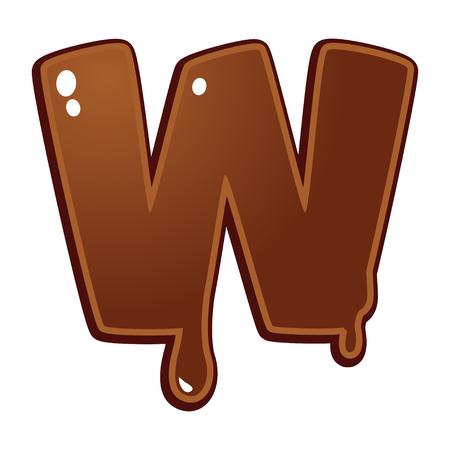 chocolate melt: Cioccolato fuso tipo di font lettera W
