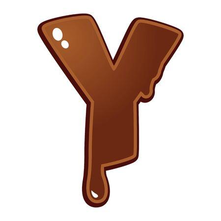 chocolate melt: Cioccolato fuso tipo di font lettera Y Vettoriali