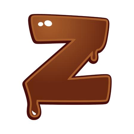 chocolate melt: Chocolate melt font type letter Z Vettoriali