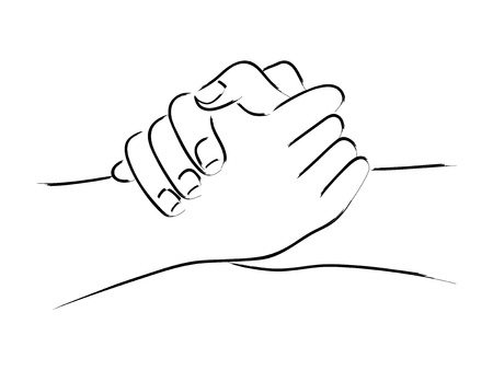 Line art of two hands holding each other strongly