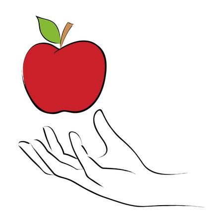 grabbing: Line art illustration of a hand grabbing an apple Illustration