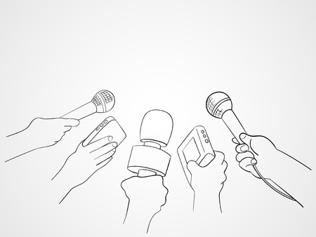 Line art illustration of hands holding microphones and recorders, journalism symbol Illustration