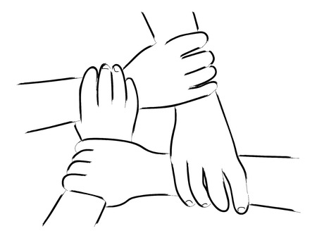 Line art of four human hands holding each other