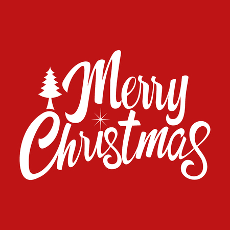 Text of Merry Christmas with decorative pine tree for Christmas theme and background Illustration