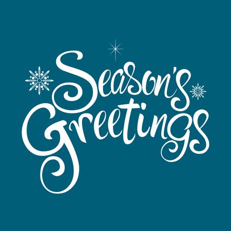 estaciones del año: Texto de saludos de la estación con copos de nieve decorativos para tema de la Navidad y el fondo