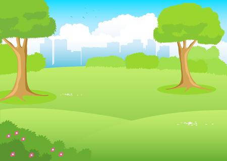 Cartoon illustratie van een park met stadsbeeld als de achtergrond Stock Illustratie
