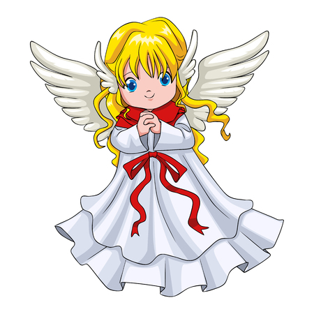cute cartoon: Cartoon illustration of a cute angel