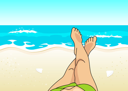 sunbath: Woman legs on the beach, summer vacation, relaxing sunbathing concept Illustration