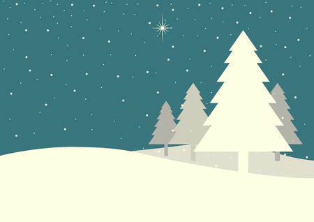 hills: Illustration of pine trees on snowy hills in vintage colour