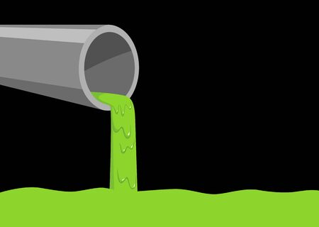 environmental hazard: Pipe pouring out green slimy liquid, concept for industrial waste and water pollution Illustration