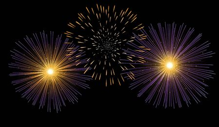 Vector illustration of fireworks using simple gradient colors, easy to edit colors, grouped in separated layers