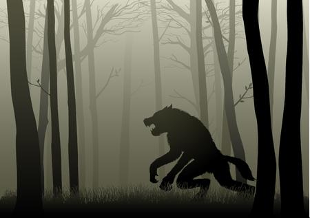 어두운 숲에 숨어있는 늑대 인간