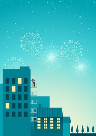 festival moment: Beautiful simple graphic of a couple watching fireworks at hotel or apartment balcony