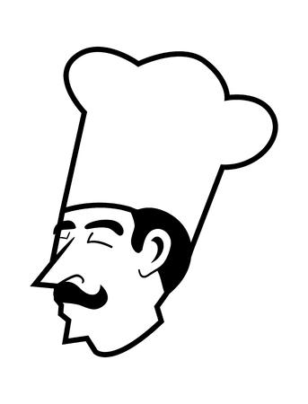art logo: Simple line art of a chef head