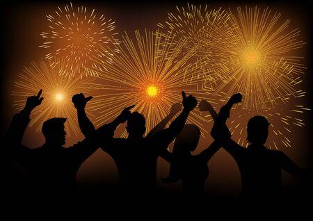 cs: Silhouette of joyful people watching fireworks, using gradient mesh background, compatible with Adobe Illustrator CS