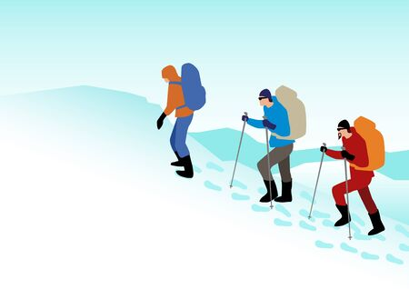 adventurer: Simple graphic of people hiking on snowy mountains